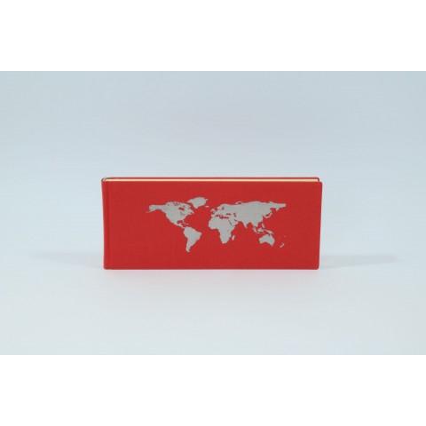 Schreibbuch mit Weltkarte, rot