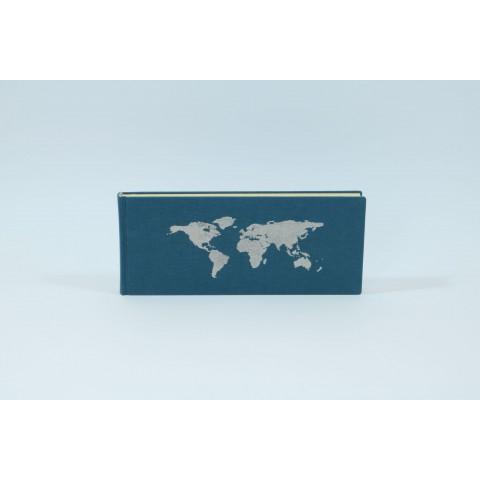 Schreibbuch mit Weltkarte, blau