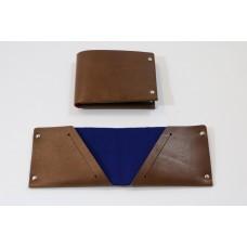 PortMonee, mit Prägung-S-Brown Leather-Night Blue